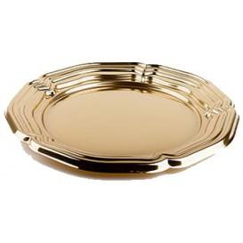 Tacki Plastikowe Okrągłe Złote 46 cm (50 Sztuk)