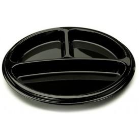 Talerz Plastikowe Okrągłe 3 Udostępnianie Czarni 26 cm (25 Sztuk)