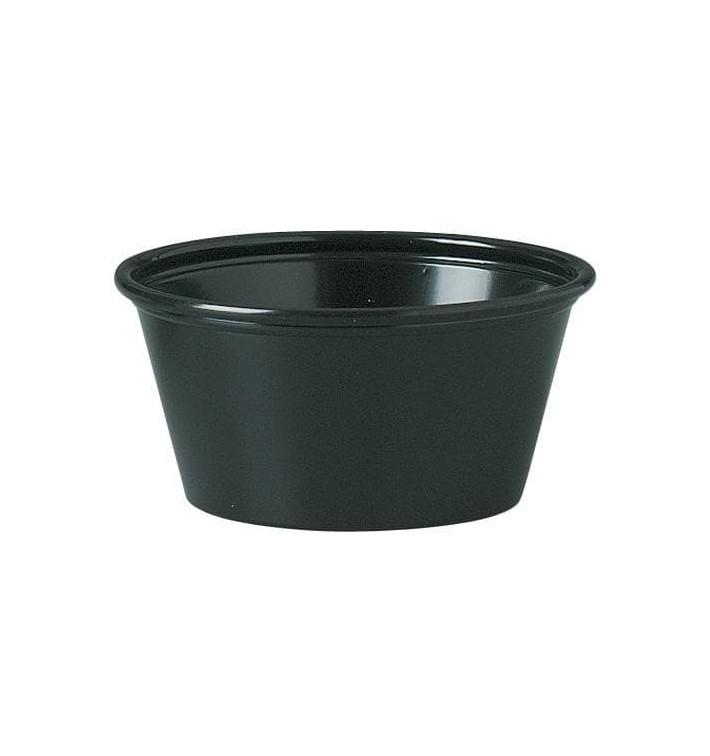 Tarrina de Plastico PS para Salsas Negro 60ml Ø62mm (2500 Uds)