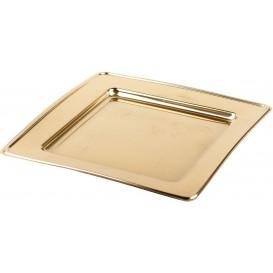 Plato de Plastico PET Cuadrado Oro 18cm (6 Uds)