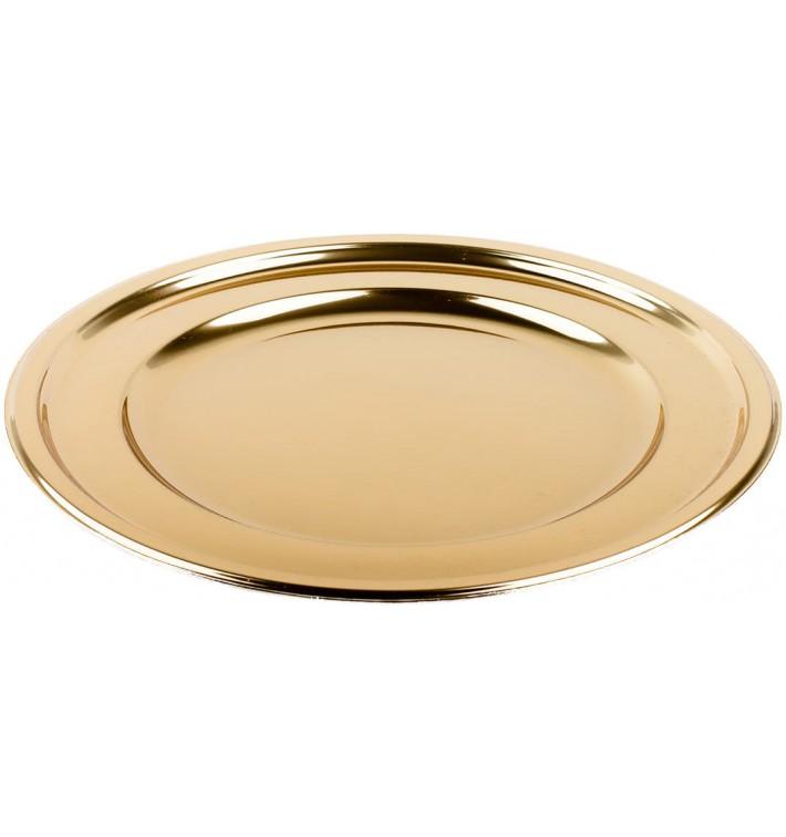 Talerz Plastikowe PET Okrągłe Złote Ø18,5cm (180 Sztuk)