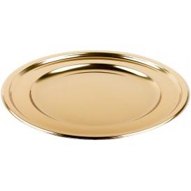 Talerz Plastikowe PET Okrągłe Złote Ø23cm (6 Sztuk)