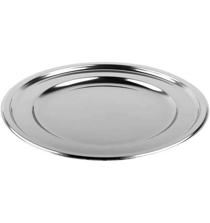 Talerz Plastikowe PET Okrągłe Srebro Ø23cm (6 Sztuk)