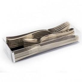 Kit Widelczyki, Nóż i Łyżka Złote Metaluizowane (10 kits)