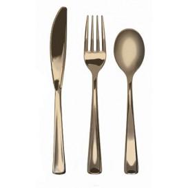 Kit Widelczyki, Nóż i Łyżka Złote Metaluizowane (1 Kit)