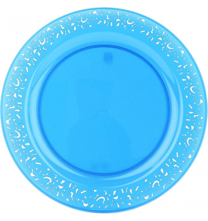 "Plato Plastico Redondo ""Mandala"" Turquesa 19cm (4 Uds)"