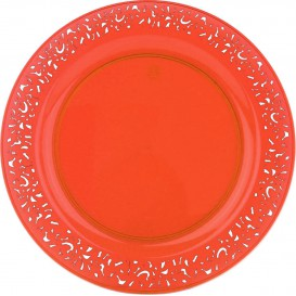 """Talerz Plastikowe Okrągłe """"Koronka"""" Orange 19cm (88 Sztuk)"""