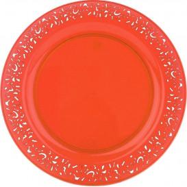 """Talerz Plastikowe Okrągłe """"Koronka"""" Orange 23cm (4 Sztuk)"""