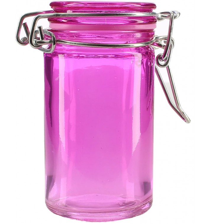 Glass Jar Snackholder Airtight Lilac 70ml Ø4,5x8cm (32 Units)