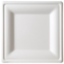 Talerz Kwadratowi Trzciny Cukrowej Białe 150x150mm (25 Sztuk)