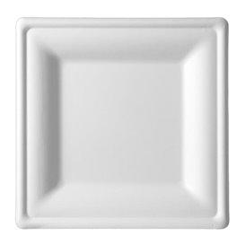 Plato Cuadrado Caña de Azucar Blanco 150x150mm (500 Uds)