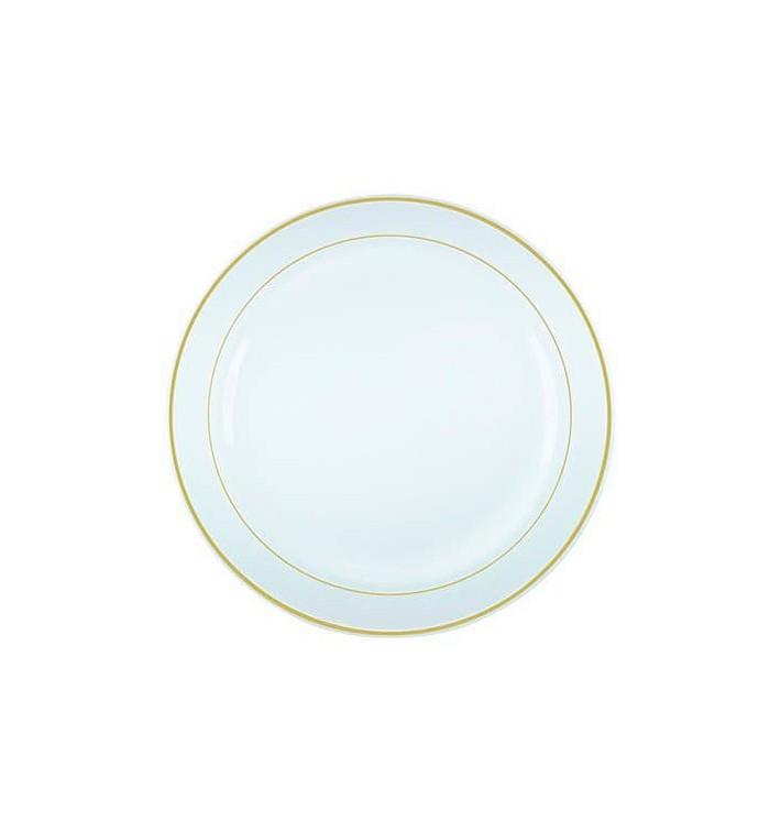 Plato Plastico Extra Rigido con Ribete Oro 19cm (10 Uds)