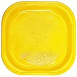Talerz Plastikowe PS Kwadratowi Żółty 200x200mm (30 Sztuk)