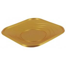 """Talerz Plastikowe PP """"X-Table"""" Kwadratowi Złote 180mm (8 Sztuk)"""