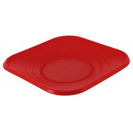 """Talerz Plastikowe PP """"X-Table"""" Kwadratowi Czerwerne 180mm (8 Sztuk)"""