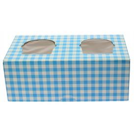 Pudełka na 2 Babeczki z Stojakiem 19,5x10x7,5cm Niebieski (160 Sztuk)