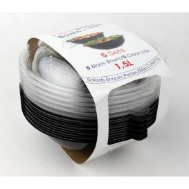 Miski Plastikowe Czarni PET z Pokrywką 1500ml Ø230mm (30 Sztuk)