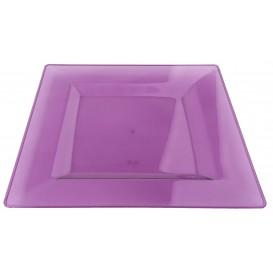Talerz Plastikowe Kwadratowi Bardzo Sztywny Bakłażan 20x20cm (4 Sztuk)