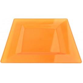 Talerz Plastikowe Kwadratowi Bardzo Sztywny Orange 20x20cm (4 Sztuk)
