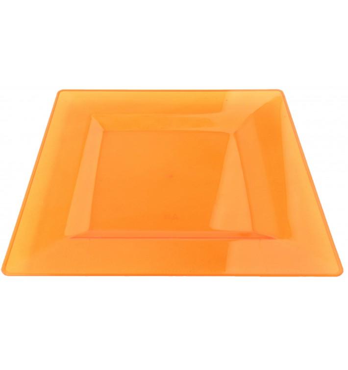 Talerz Plastikowe Kwadratowi Bardzo Sztywny Orange 20x20cm (88 Sztuk)