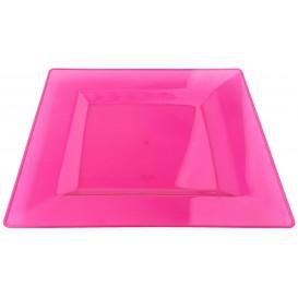 Talerz Plastikowe Kwadratowi Bardzo Sztywny Malina 20x20cm (4 Sztuk)