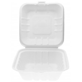Pudełka na Burgeri Trzciny Cukrowej Białe 150x150x80mm (50 Sztuk)