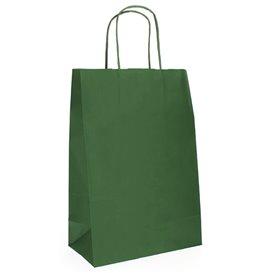 Torby Papierowe Kraft Zielone z Uchwytami 80g 20+10x29 cm (50 Sztuk)