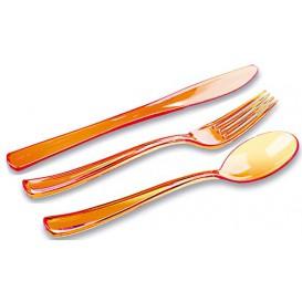 Kit Sztućców Plastikowe Widelczyki, Nóż, Łyżka Orange (20 Kits)