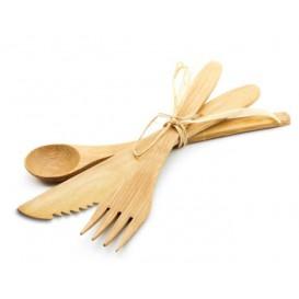Zestaw Sztućców Bambusowe Widelczyki, Nóż i Łyżka (50 Sztuk)