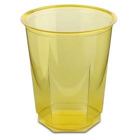 Kubki Plastikowe Hexagonalny PS Szkło Żółty 250ml (250 Sztuk)