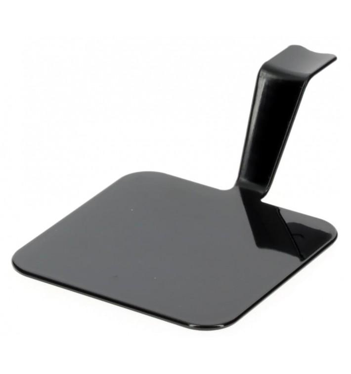 "Tasting Plastic Plate PS ""Gourmand"" Black 4x4cm (600 Units)"