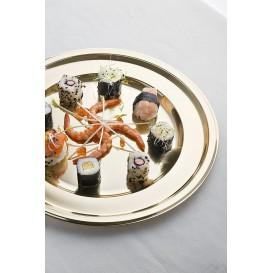 Talerz Plastikowe PET Okrągłe Złote Ø23cm (180 Sztuk)