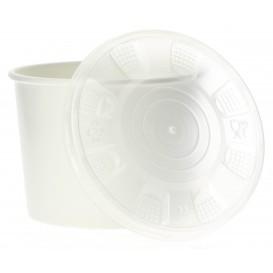 Miski Papierowe Białe z Pokrywką PP 350ml (50 Sztuk)