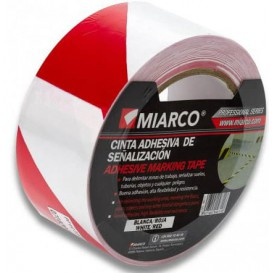 Adhesive Safety Tape Roll White/Red 5cmx33m (12 Sztuk)