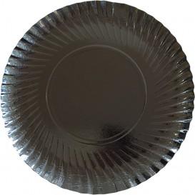 Talerz Papierowe Okrągłe Czarni 250 mm (500 Sztuk)