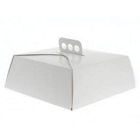 Pudełka na Wynos Kartonowe Białe na Ciasto Kwadrat 24,5x24,5x10 cm (100 Sztuk)