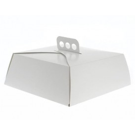 Pudełka na Wynos Kartonowe Białe na Ciasto Kwadrat 34,5x34,5x10 cm (100 Sztuk)