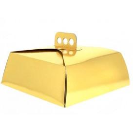 Pudełka Kartonowe Złote na Ciasto Kwadrat 27,5x27,5x10 cm (100 Sztuk)