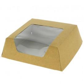 Pudełka na Wynos Kartonowe Kraft z Okienkiem 120x120x40mm (25 Sztuk)