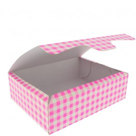 Pudełka Cukiernicze Kartonowe 18,2x13,6x5,2cm 500g Różowe (25 Sztuk)