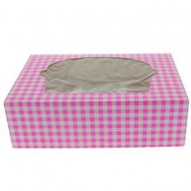 Pudełka na 6 Babeczki z Stojakiem 24,3x16,5x7,5cm Różowe (20 Sztuk)