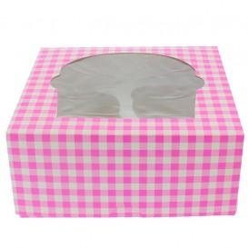 Pudełka na 4 Babeczkiz Stojakiem 17,3x16,5x7,5cm Różowe (20 Sztuk)