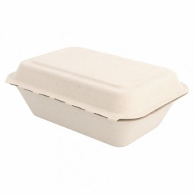 "Sugarcane Hinged Container ""Menu Box"" 13,6x18,2x6,4cm (50 Units)"
