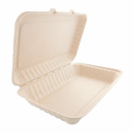 """Sugarcane Hinged Container """"Natural"""" 33,5x23x7,5cm (150 Units)"""