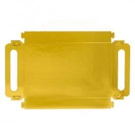 Tacki Papierowe Prostokątny Złote z Uchwytami 32x7,5 cm (100 Sztuk)