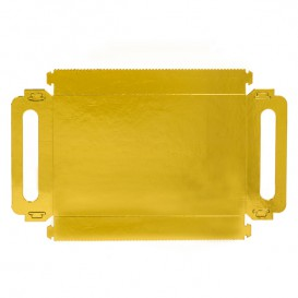 Paper Tray with Handles Rectangular shape Gold 16x23cm (25 Units)