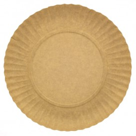 Talerz Papierowe Okrągłe Kraft 180 mm 255g/m2 (100 Sztuk)