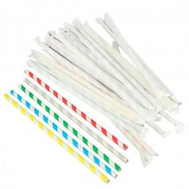 Słomki Elastyczny Papierowe Asortyment w Papierku Ø6mm 23cm (250 Sztuk)