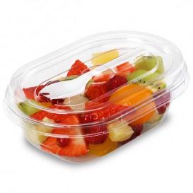 Plastic Salad Bowl APET shape with Fork 370ml 19x14x6,4cm (20 Units)