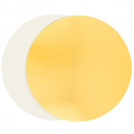 Paper Cake Circle Gold and White 24cm (100 Units)